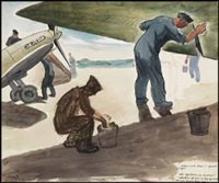 airmen working on spitfires by edwin headley holgate