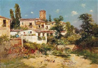 chickens on a river bed in a spanish village by jose maria jardines