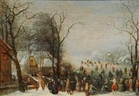 paysage d'hiver avec patineurs by anthonie van stralen
