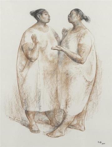 dos mujeres conversando by francisco zúñiga