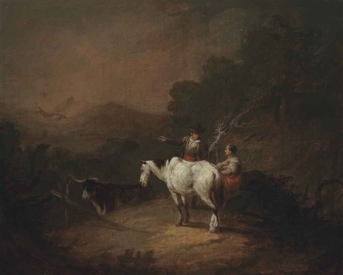 travellers at rest with a horse in a wooded landscape by george morland