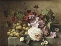 a camellia, carnations, grapes and other flowers on a marble ledge by margaretha roosenboom