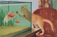 tabby cat stalks a goldfish by walter alois weber