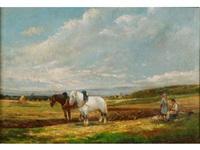 couple de paysans au repos dans le champ près de leurs chevaux by albin (ph.) de buncey