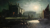 tower of london under a full moon by ansdele smythe