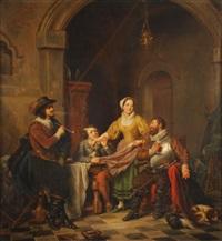 joyeuse compagnie jouant aux cartes by françois ange