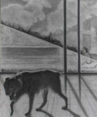 perro y piscina by joaquin pacheco