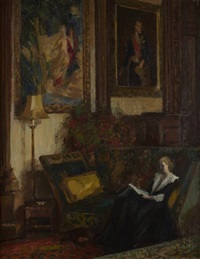 figure in an interior, the great hall, dutton homestall by charles mccall