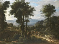 an italianate landscape with huntsmen in the foreground and a procession of travellers on a path beyond by pandolfo reschi