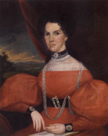 portrait of a woman in a red dress by john sherburne blunt