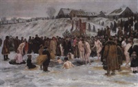 bathing after the blessing of the waters on the sixth january, feast of the epiphany by nikolai karlovich grandkovsky