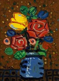 bouquet de fleurs au fond brun by paul aïzpiri