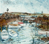boats moored werribee river by piers bateman