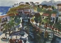 mediterranean village scene by gerhard batha