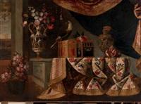 composition aux vases de fleurs et perroquet by italian school-roman (17)