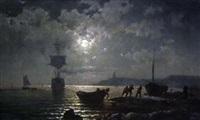 coastal scene, eveing by c.l. reinert