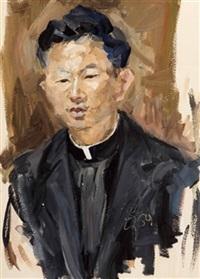 portrait eines asiatischen geistlichen by oswald kollreider