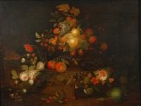 coupe de fruits et fleurs sur une tablette by martin van dorne