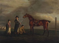 hap-hazard with his trainer, groom and jockey on a racecourse by benjamin marshall