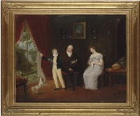group portrait of a lady and gentleman and their son, with a spaniel, in an interior by maria spilsbury