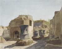 vue de pompéi, avec les moulins à grain by gabriel auguste ancelet