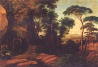 travellers resting in an extensive wooded landscape by agostino aglio
