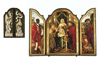 the holy family with melchior offering gold to the christ child, balthasar offering myrrh, caspar offering incense, the annunciation (triptych) by master of frankfurt