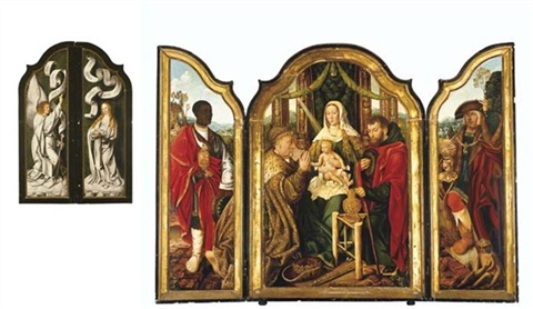 the holy family with melchior offering gold to the christ child balthasar offering myrrh caspar offering incense the annunciation triptych by master of frankfurt