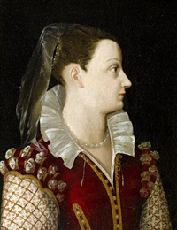 portrait of a lady in a crimson dress with a white lace collar by alessandro di cristofano allori