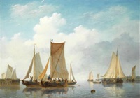 estuary with vessels in calm water by frans jacobus van den blyk