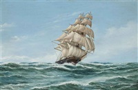 the u.s. clipper rainbow in a fair wind by john bentham-dinsdale