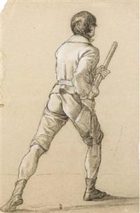 un homme, vu de dos, tenant un fusil by jean alaux