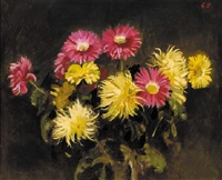 yellow and pink chrysanthemums by cowan dobson