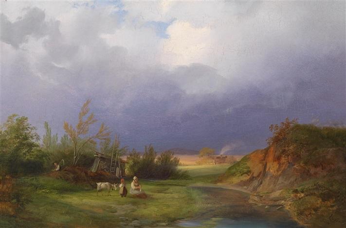 landschaft bei aufziehendem gewitter by ignaz raffalt