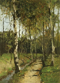 birches on a sand road by a brook by johan cornelis eliza kuypers