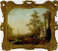 an italianate landscape with travellers resting and drinking from a river, with ruins and an obelisk by lorens (lars) gottman