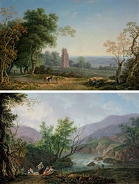an italianate landscape with peasants on a path, an ancient mausoleum beyond (+ another; pair) by carlo labruzzi