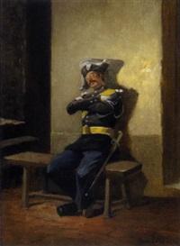 schlafender soldat by eugène cottin