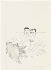 the beginning, plate 9, from: illustrations for fourteen poems by c. p. cavafy by david hockney