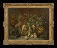still life with melons, grapes, peaches and a classical bust by jan van os