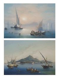 fishing off capri in the mist (+ fishing before ischia; pair) by la pira