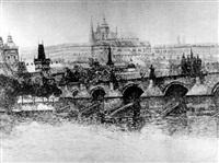prag: ansicht der karlsbrücke mit blick auf den hradschin by franz toman
