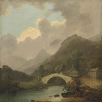 a view of pelter bridge, rydal, cumbria by julius caesar ibbetson
