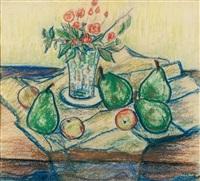 stillleben, blumen in vase mit früchten by hans kobinger