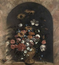 sunflowers, roses, tulips and other flowers in a guilded vase in a trompe-l'oeil marble niche by laurens vincentsz van der vinne the elder