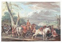 cavalry party at rest at the side of a road by jean-baptiste (louis) le paon