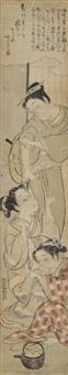 hashira-e, trois oiran, l'une buvant une coupe à saké by isoda koryusai