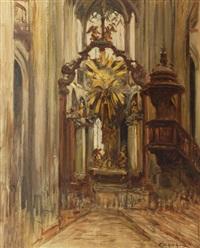 intérieur d'église by fernand marie eugène legout-gérard
