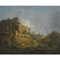 landscape with classical ruins, outside rome, with the pyramid of cestius beyond by william marlow