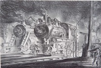 switch engines, erie yards (sasowsky 30) by reginald marsh